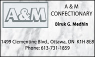 A&M Confectionary - business card B&W