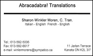 Abracadabra! Translations - business card B&W