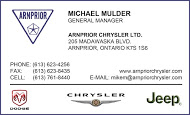 Arnprior Chrysler-Dodge-Jeep - business card Colour