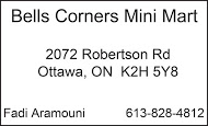 Bells Corners Mini Mart - business card B&W