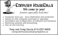 Computer House Calls - business card B&W
