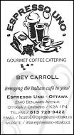 Espresso Uno - business card VERT B&W