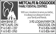 Metcalfe & Osgoode Family Dental Centres - business card B&W