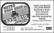 Metro Body Shop - business card B&W