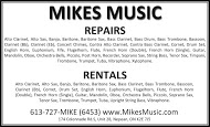 Mike's Music - business card B&W