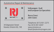 RJ Motors, Inc. - business card colour