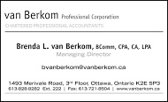 van Berkom Chartered Accountants - business card B&W