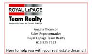 Angela Thompson, Royal LePage - business card