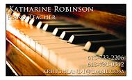 Katherine Robinson, Piano Teacher - business card